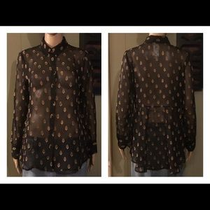 CHICO'S Black Sheer Gold LS Button Down Blouse